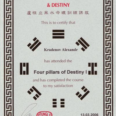 09 Certificate Alexander Kradenov Training Course Master Raymond Lo Four Pillars Of Destiny 1